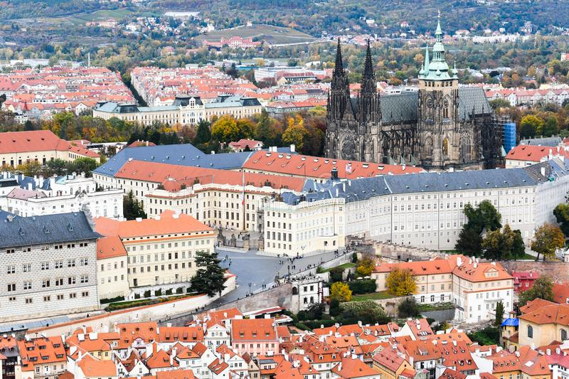 Skyline of prague with Prague Castle and  St Vitus Cathedral royalty free stock photos