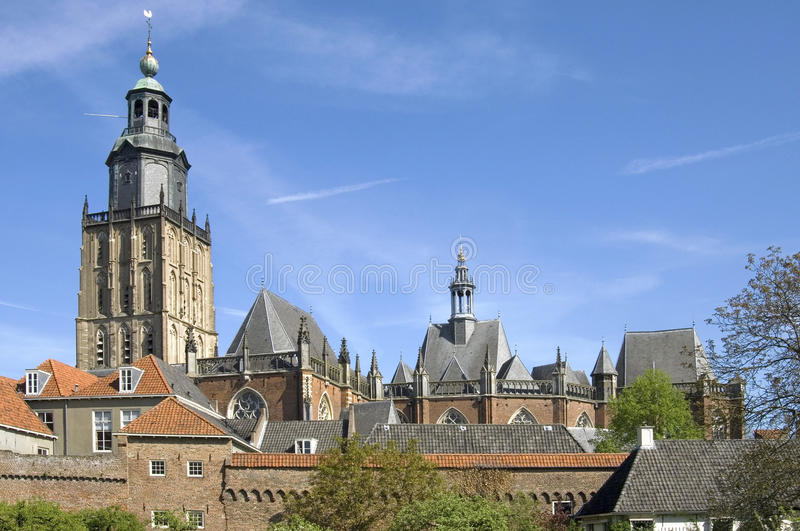 Skyline of protected cityscape, city Zutphen. Netherlands, province Gelderland, hanseatic city Zutphen: Still life of the medieval historic Protestant, aisled stock photography