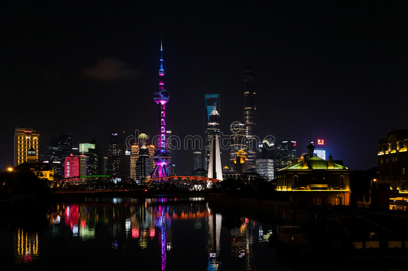 Skyline of Pudong New Area, Shanghai, China. Pudong New Area, Shanghai, China stock photo
