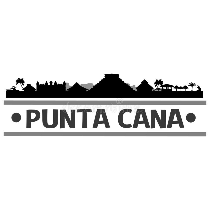 Punta Cana Skyline City Icon Vector Art Design. A skyline of Punta Cana with emblematic buildings royalty free illustration