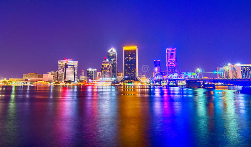 Skyline and river coast scenes in Jacksonville Florida royalty free stock photography