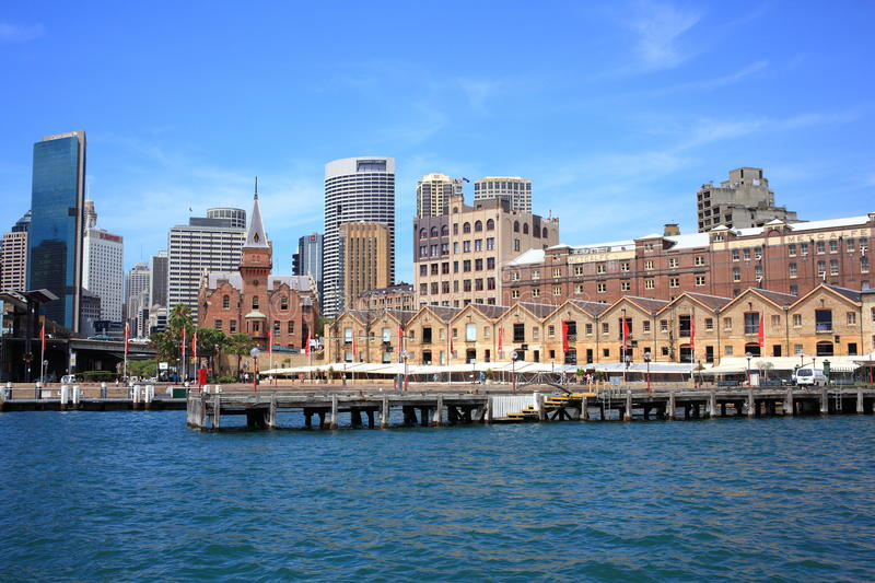 Skyline of The Rocks district in Sydney royalty free stock photo