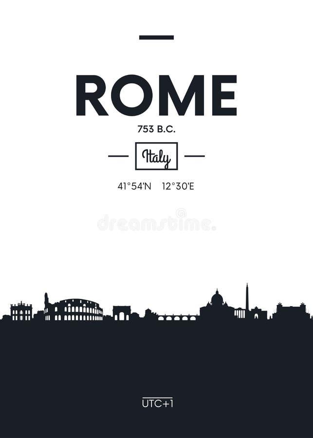 Skyline Roma da cidade do cartaz, ilustração lisa do vetor do estilo ilustração royalty free