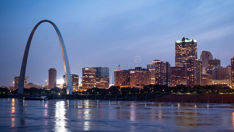 Skyline of Saint Louis with Gateway Arch by night - ST. LOUIS, USA - JUNE 19, 2019 royalty free stock images