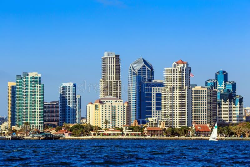 Skyline of San Diego, California from Coronado Bay. USA royalty free stock photos