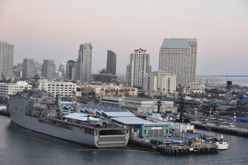 Skyline of San Diego in California stock images