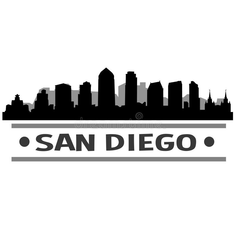 San Diego Skyline City Icon Vector Art Design. A skyline of San Diego with emblematic buildings vector illustration
