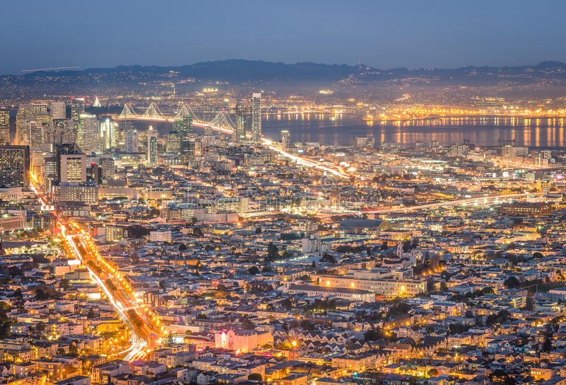 Skyline of San Francisco Bay at night from panorama view point royalty free stock images