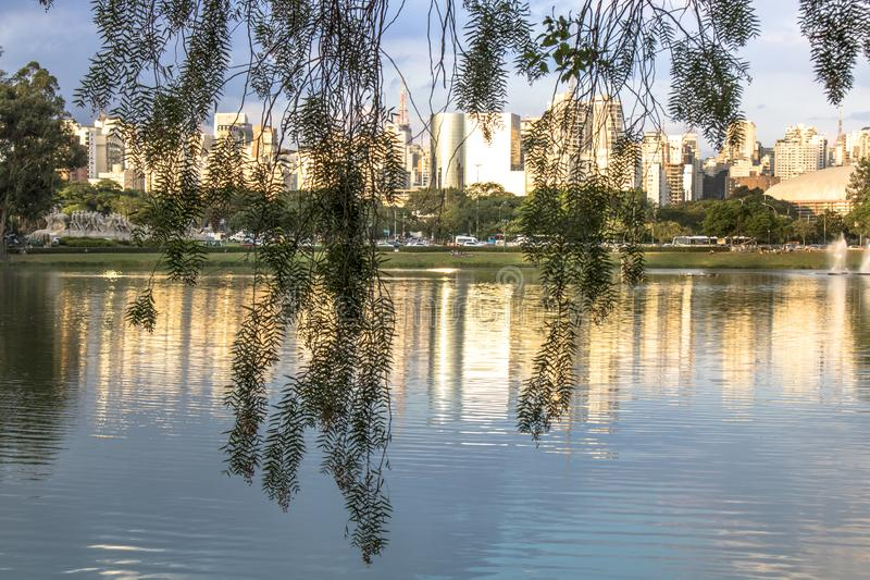 Skyline of Sao Paulo city. And reflex in lake royalty free stock images