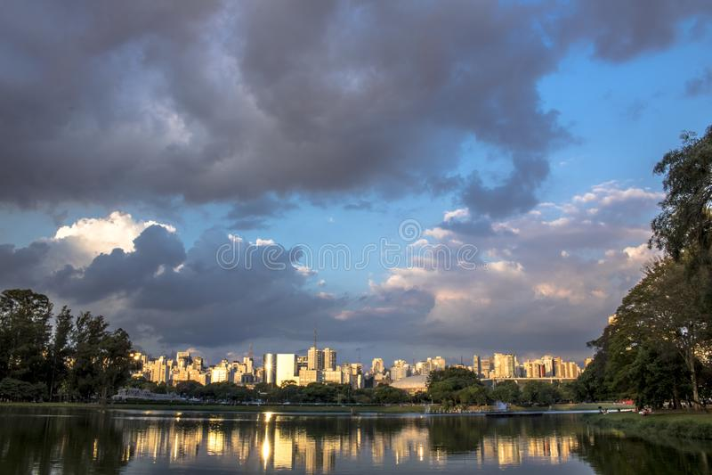 Skyline of Sao Paulo city. And reflex in lake royalty free stock photos