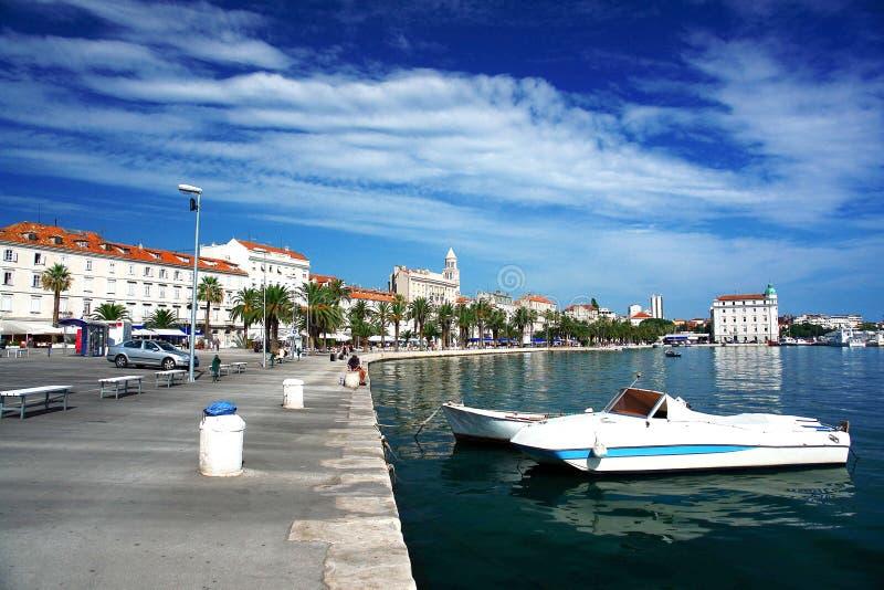 Skyline at the sea, Croatia. Boats moored. royalty free stock image