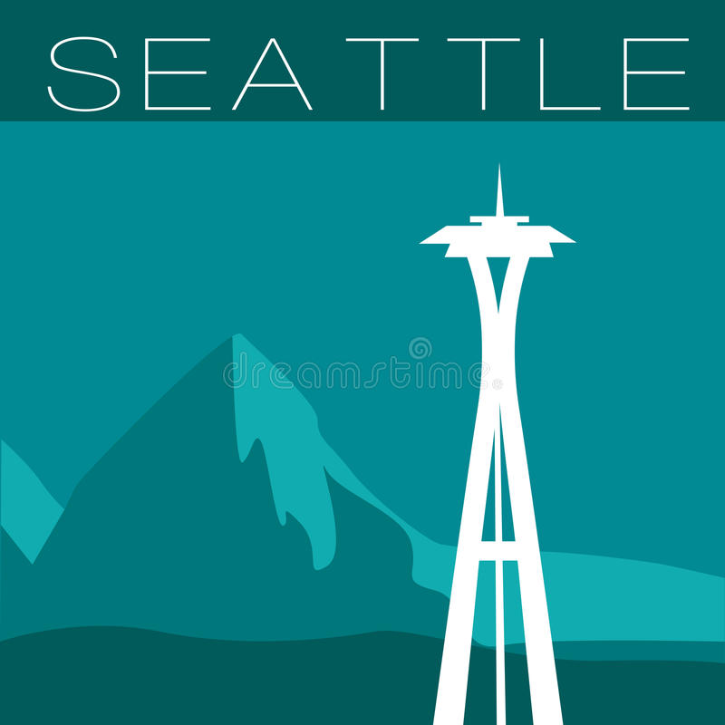 Skyline of Seattle. Flat style panorama of space needle and mountains royalty free illustration