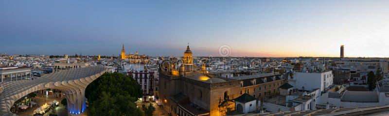 Skyline of Seville at sunset stock photo