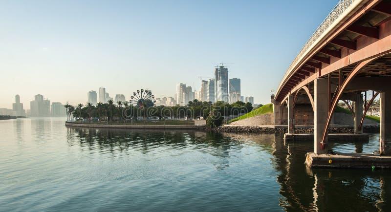 Skyline of Sharjah City, United Arab Emirates. Bridge, park and a skyline of Sharjah City, United Arab Emirates stock images