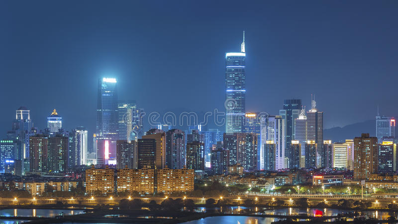Skyline of Shenzhen City, China. At twilight. Viewed from Hong Kong border royalty free stock photography