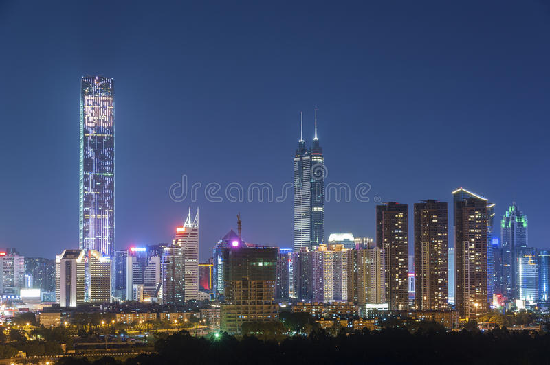 Skyline of Shenzhen City, China. Skyline of Shenzhen City, China at twilight. Viewed from Hong Kong border royalty free stock photography