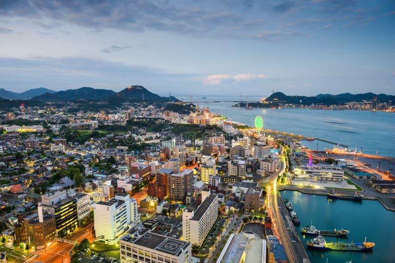 Skyline Shimonosekis, Japan lizenzfreies stockfoto