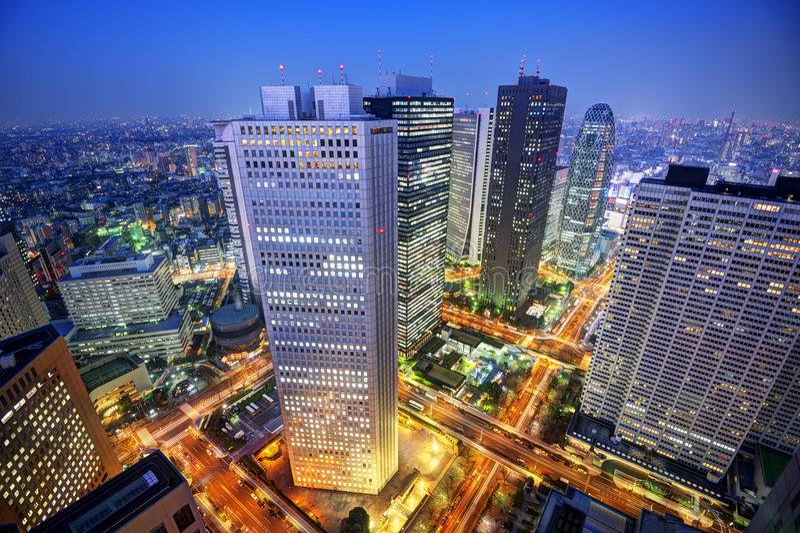 Skyline Shinjuku Tokyo lizenzfreie stockfotos
