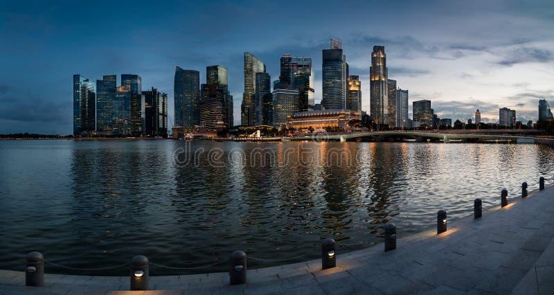 Skyline of Singapore at a beautiful sunset - Singapore. Skyline of Singapore at a beautiful sunset stock photography