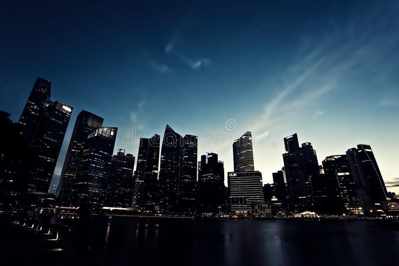 Skyline of Singapore. CBD, taken from the marina bay at night stock image