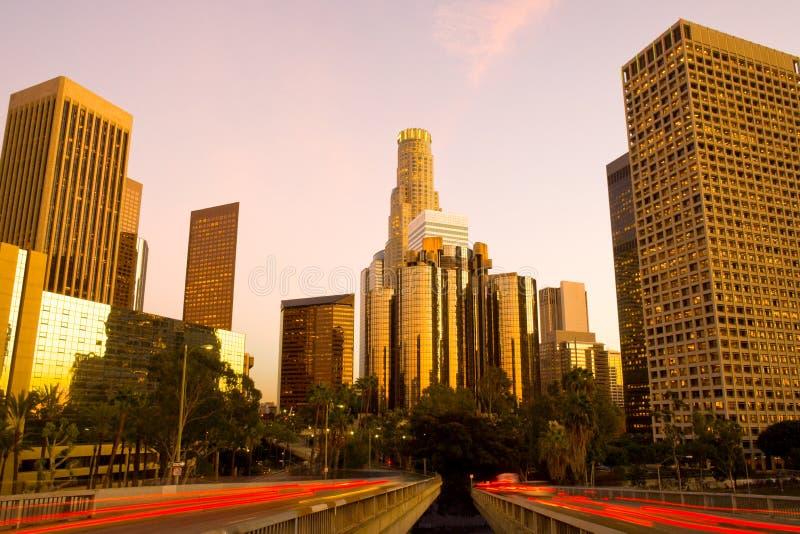 Skyline of skyscrapers w centrum Financial District, Los Angeles, Kalifornia zdjęcie royalty free