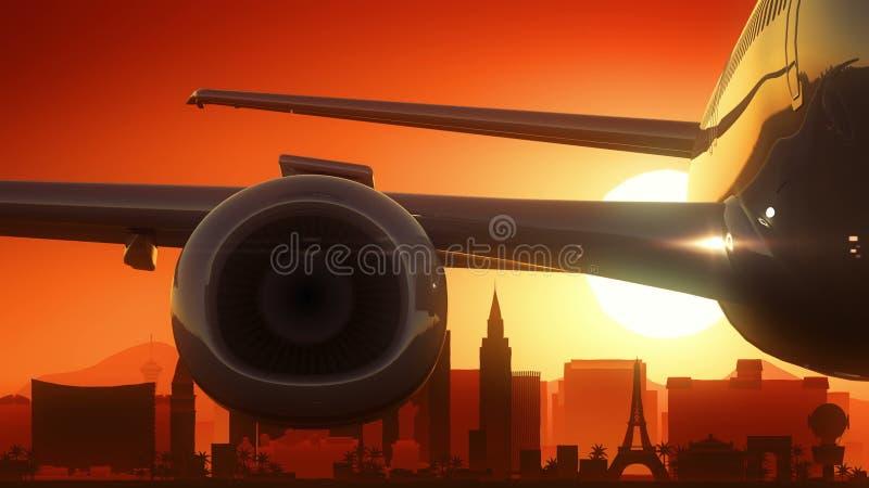 Skyline-Sonnenaufgang Las Vegass Nevada USA Amerika entfernen sich lizenzfreie abbildung