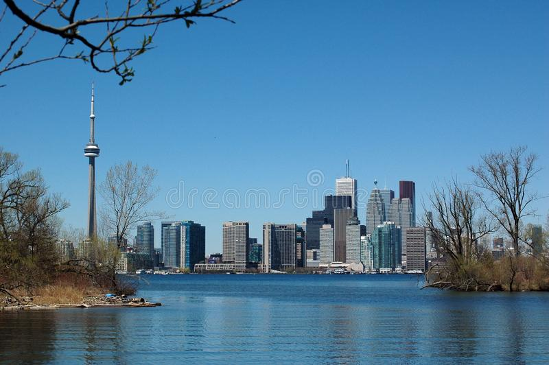 skyline of spring Toronto stock images