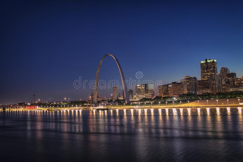 Skyline of St Louis with Gateway Arch, St Louis, Mo, USA royalty free stock photo