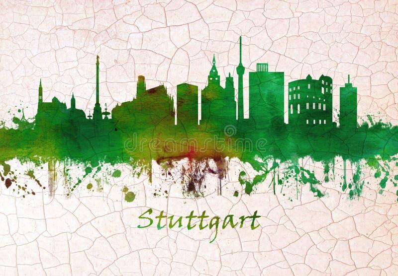 Skyline Stuttgarts Deutschland stock abbildung