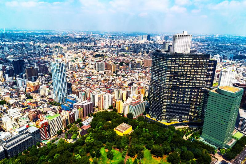 Skyline during the sunny day, cloudy sky over urban area in Shinjuku, Tokyo, Japan. Tokyo, Japan. Skyline during the sunny day, cloudy sky over urban area in stock photography