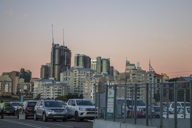 Skyline of Sydney CBD, sunset view. stock photos