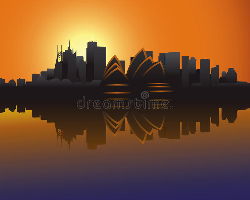 Download Skyline Of Sydney At Sunset Stock Vector - Image: 14325262