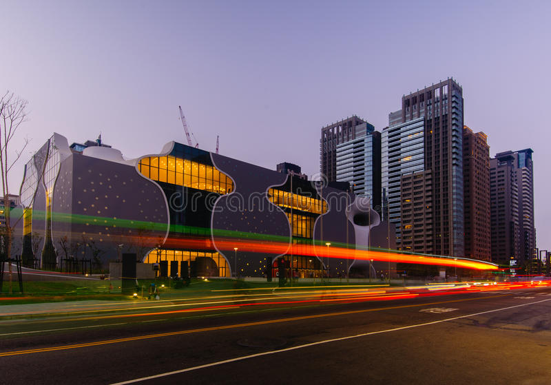 Skyline of taichung city, taiwan. Night view of taichung and opera house stock image