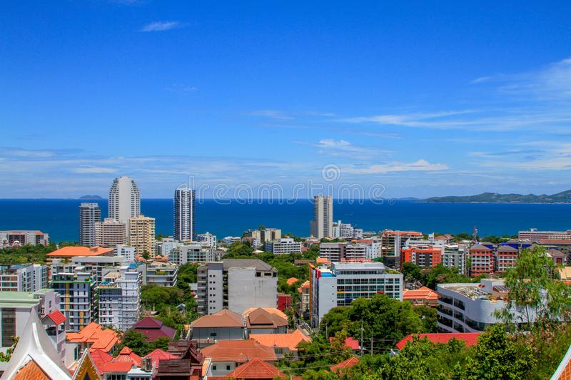 Skyline of a Thai city Pattaya royalty free stock images
