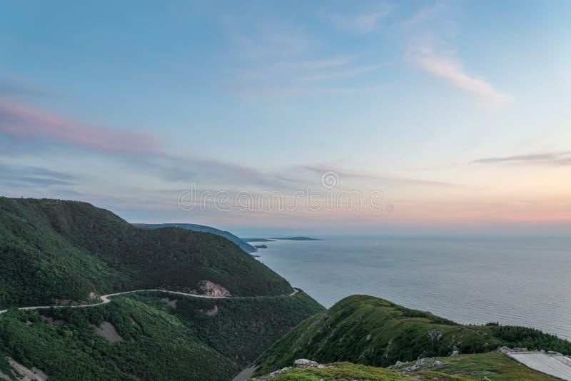 Skyline Trail look-off at dusk. (French Mountain, Cape Breton, Nova Scotia, Canada stock photo