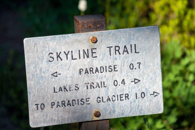 Skyline trail sign in Mount Rainier, WA.  royalty free stock photo