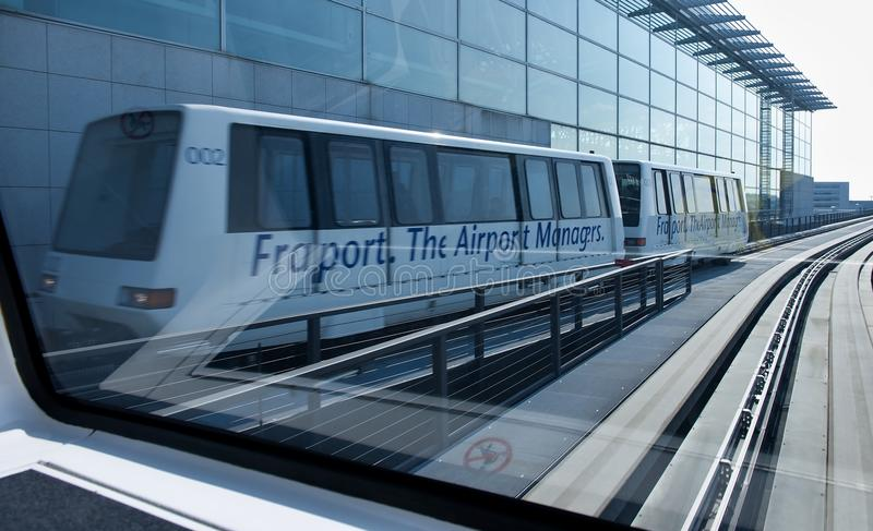 Skyline train at the Frankfurt International airport stock photos
