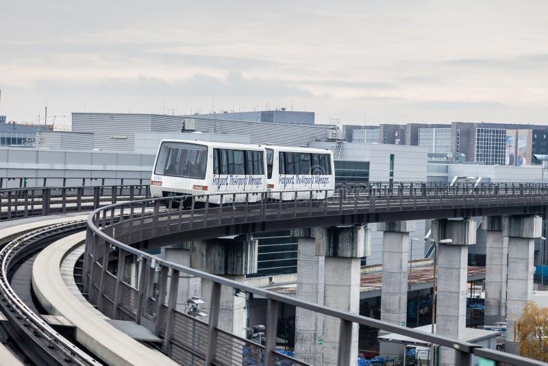 Skyline train at the Frankfurt International Airport stock photography