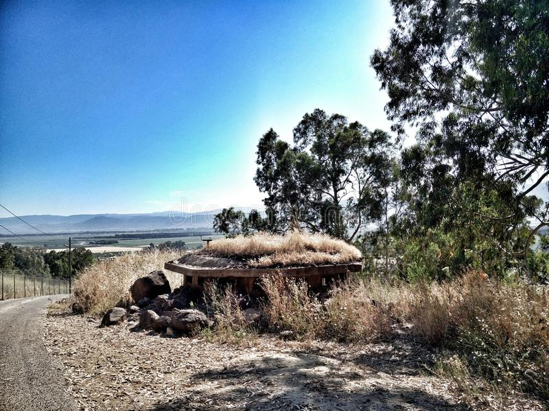 Skyline trees grass kibbutz israel stock photography