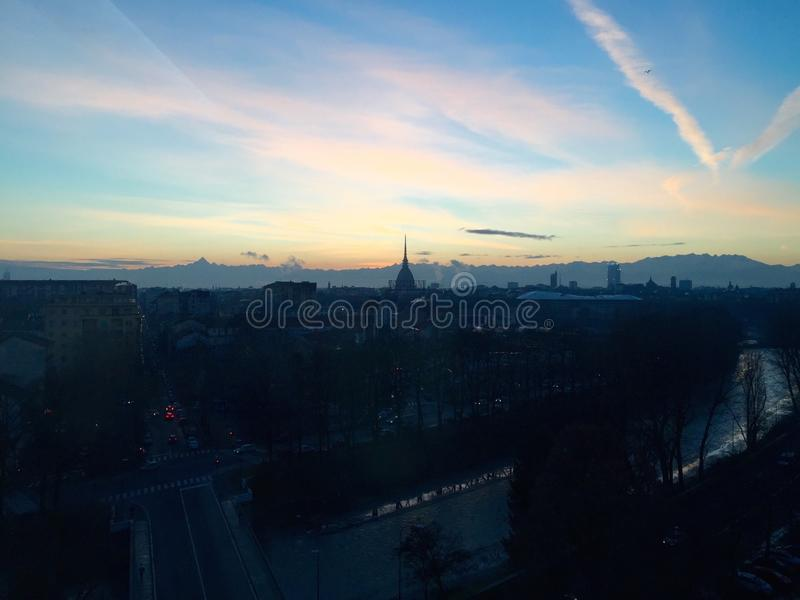 Skyline Turin stockbilder