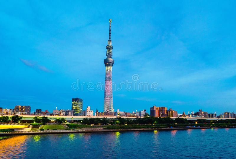 Skyline in the twilight, cloudy sky over urban area in Sumida, Tokyo, Japan royalty free stock images