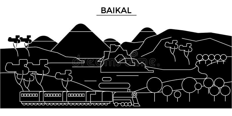 Skyline urbana com marcos, arquitetura da cidade da arquitetura de Rússia, Baikal, construções, casas, paisagem da cidade do veto ilustração royalty free