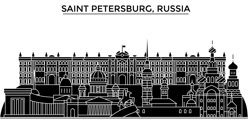 Skyline urbana com marcos, arquitetura da cidade da arquitetura de Rússia, St Petersburg, construções, casas, paisagem da cidade  ilustração stock