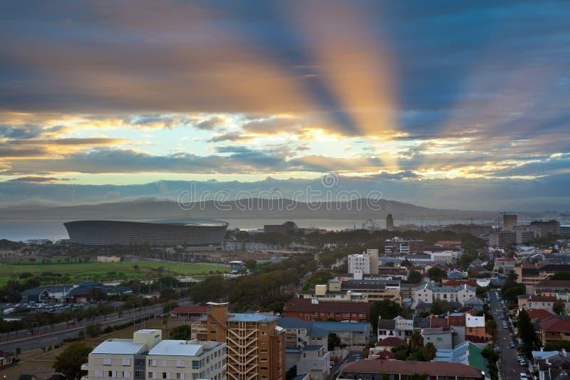 Skyline urbana da cidade, Cape Town, África do Sul. foto de stock