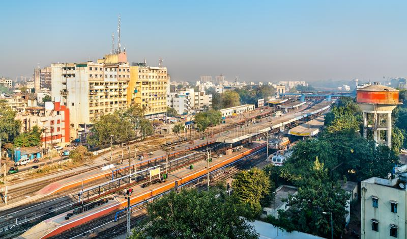 Skyline of Vadodara, formerly known as Baroda, with the railway station. Gujarat, India. Skyline of Vadodara, formerly known as Baroda, with the railway station royalty free stock photography