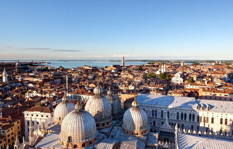 Skyline Venezia Dome San Marco, Venice, Italy. Skyline of Venice seen from the campanile of the San Marco basilica with the domes or copula of San Marco, Venezia royalty free stock photography