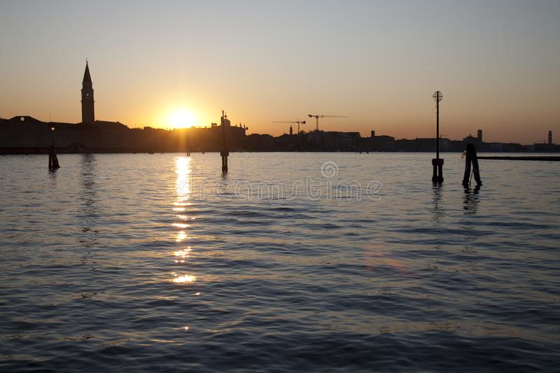 Venice at sunset. The skyline of Venice`s main island at sunset royalty free stock photography