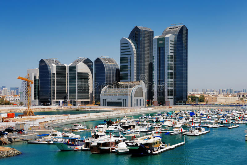 A skyline view of Abu Dhabi, UAE's capital city. This is UAE's 2nd largest city and has a population of almost 1 million residents stock photos
