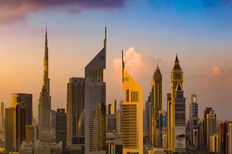 A skyline view of Dubai, UAE showing the buildings of Sheikh Zayed Road and DIFC stock photography