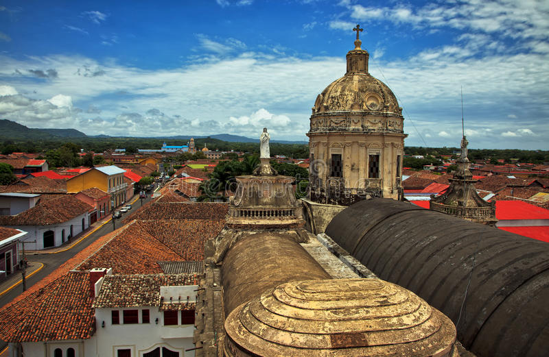 Skyline View of Granada From La Merced Cathedral, Nicaragua. City of Granada From La Merced Cathedral, Nicaragua, Central America. Taken 15 August 2015 royalty free stock photo